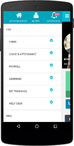 FlexiEle hrms mobile apps menu
